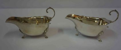 A Pair of Silver Sauce Boats, Hallmarks for Atkins Bros Birmingham 1930-31, raised on shell and hoof