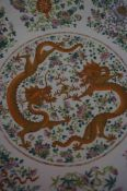 A Large Chinese Famille Rose Charger, Qing Dynasty (Guangxu period 1874-1908) Decorated with two