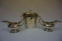A Quantity of Silver Plated Wares, to include an ice bucket, muffin dishes, pair of sauce boats,