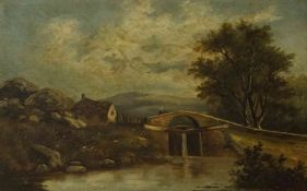 """River and Landscape Scene with Figure"" Oil on Canvas, unsigned, 35cm x 55cm, in a gilt frame"