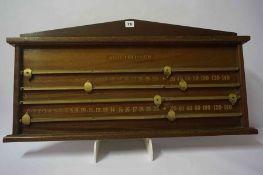 A Snooker / Billiards Scoreboard by Allied Billiards, Having sliding gilt metal score counters on