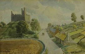 "Gordon McDonald (Scottish) ""Hume Castle"" ""Sandyknowe Tower"" Watercolours, 23.5cm x 37cm, in gilt"