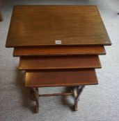 A Mahogany Inlaid Quarteto Nest of Tables, Largest table 69cm high, 61cm wide, (4)