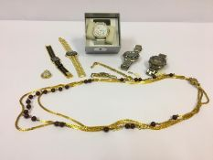 A Mixed Lot of Costume Jewellery and Watches, to include a bead necklace and Gents wristwatches
