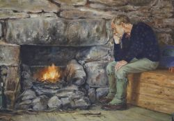 "Michael Barton (Born 1938) ""Male Sitting at Fire"" Watercolour, signed to lower right, 20cm x 28cm,"