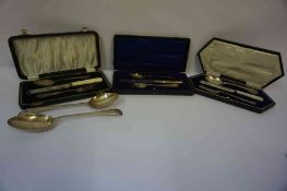 A Mixed Lot of Silver Flatware, to include a Danish spoon by Georg Jensen, stamped 830, also with