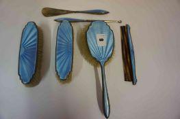 A George V Silver and Blue Enamel Brush Set, Hallmarks for Birmingham 1929-30, Comprising of