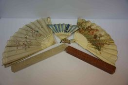 Three Bone Mounted Fans, to include an Oriental style example, various sizes, with two boxes,