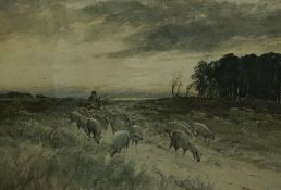 "Thomas Swift Hutton (British 1860-1935) ""Shepherd Driving His Flock"" Watercolour, signed to lower"