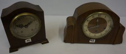 Two Vintage Mantel Clocks, to include a walnut example, 24cm high, (2)