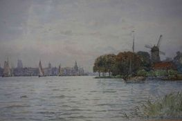 "George Stansfield Walters (1838-1924) ""Dutch River and Landscape Scene"" Watercolour, signed"