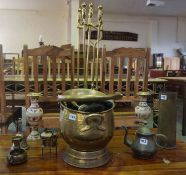 A Mixed Lot of Brass Wares, to include a coal helmet, pair of vases, shell case, bell etc, also with
