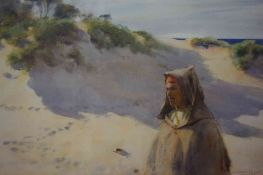 "John Spence Ingall (British 1850-1936) ""Middle Eastern Male in Dessert Landscape"" Watercolour,"