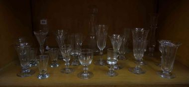 A Mixed Lot of Georgian Style Glass Wares, to include liqueur and cordial glasses, rummers,
