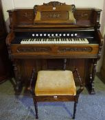 A Mahogany Pedal Organ by John Malcolm & Co London, 120cm high, 115cm wide, 64cm deep, also with