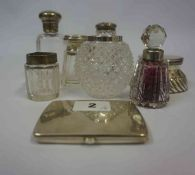 A Mixed Lot of Silver, Comprising of a cigarette case, silver mounted inkwell, and six various