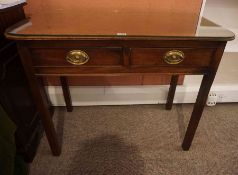 A Georgian Mahogany Writing / Side Table, having two drawers, raised on plain legs, 71cm high,