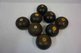Eight Assorted Vintage Bowling Balls, to include Lignum Vitae examples, some examples having ivory