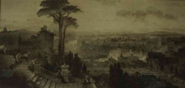 "Alex Cowan & Son ""City Landscape Scene"" Sepia Watercolour, Possibly of Edinburgh, signed to lower"