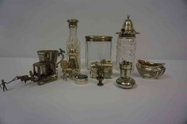 A Mixed Lot of Silver, to include a silver lidded toilet jar, silver top condiments, pill box,