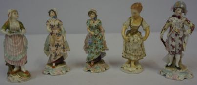 A Mixed Lot of Continental Porcelain Figures, to include small enamel decorated figures, figural