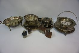 A Mixed Lot of Silver Plated Wares, to include a revolving breakfast dish, cake basket, trays, hip