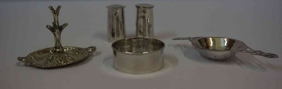 A Modern Silver Tea Strainer on Stand, Hallmarks for London, also with a silver ring stand,