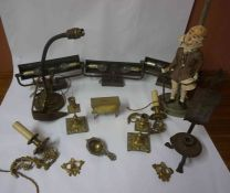 A Mixed Lot of Vintage Brass and Collectables, to include a pair of candlesticks, desk lamp, wall