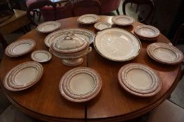 A Victorian Part Pottery Dinner Set by Bells of Glasgow, to include tureen, serving platter, soup