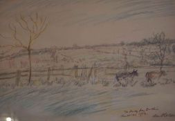 "Enslin Du Plessis (South African 1894-1978) ""Winter Landscape"" Pastel Drawing, signed and dated 1953"