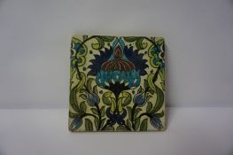 William De Morgan (1839-1917) A Persian Tile, circa 1890, stamped to reverse for W. De Morgan &