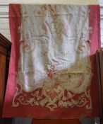 A Pair of Antique French Aubusson Wall Hangings, on a cream ground with red border, approximately