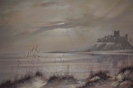 "Ivan Lindsay (20th century) ""Castle in Coastal Scene"" Oil on Canvas, signed and dated 87 to lower"