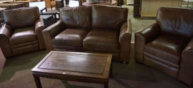 A Contemporary Tan Leather Three Piece Lounge Suite, comprising of a large two seater sofa and a