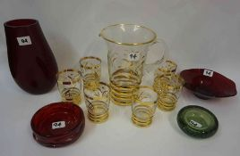 Three Pieces of Whitefriars Glass, to include a red knobbly bowl by Harry Dyer, circa 1960s, pattern