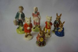 A Pair of Royal Doulton Figures of Jack and Jill, HN 2060, 14cm high, also with two Beswick