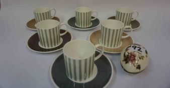 A Susie Cooper Twelve Piece Coffee Set, Also with a Masons egg shaped jar, (13)