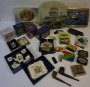 A Mixed Lot of Smoking Related Items, to include tins and pipes, (a lot)