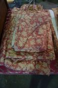 Three Pairs of Fabric Curtains, Decorated with allover floral panels on a red ground, drop