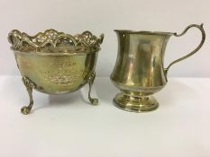 A Silver Christening Tankard, Hallmarks for Birmingham, 8cm high, approximately 3oz, also with a