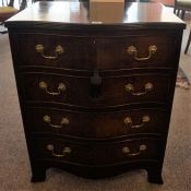 A Georgian Style Mahogany Serpentine Chest of Drawers, Having four drawers with brass handles,
