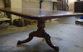 A Regency Design Mahogany Breakfast Table, circa 19th century, Having a large square shaped top with