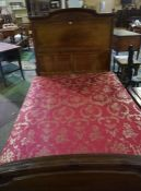 A Continental Mahogany Double Bed, with base, purchased in Belgium, assembled, 4.3ft wide