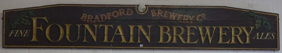 "A Large Vintage Wooden Advertising Sign, for ""Fine Fountain Brewery"" Bradford Brewery co, The"