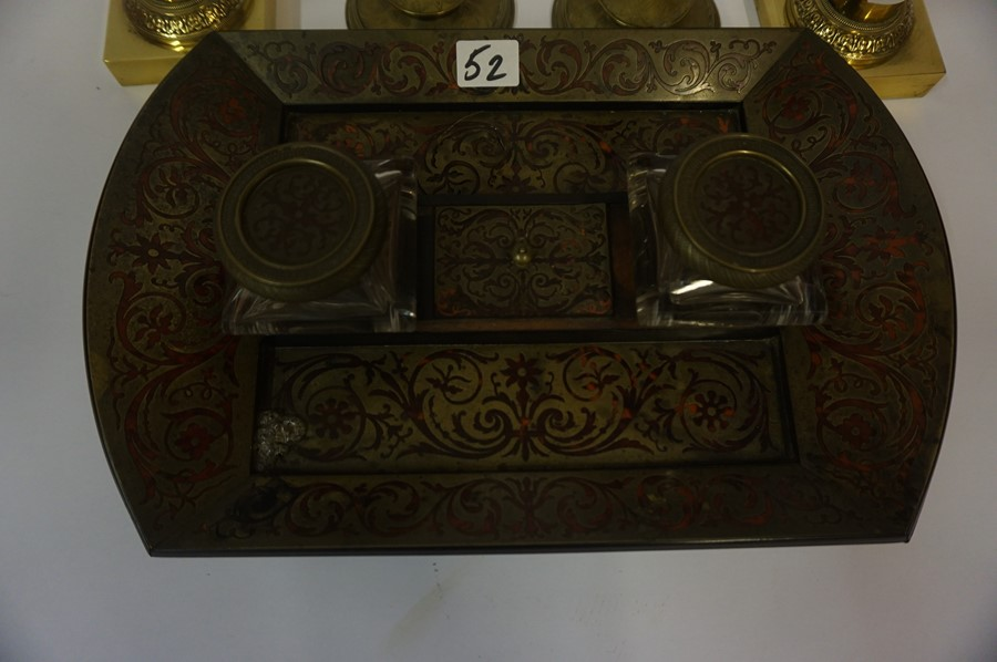 Lot 52 - A Mixed Lot of Brass Wares, to include pairs of candlesticks, desk stand, fire irons etc, (13)
