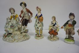 A Group of Continental Porcelain Figures, to include five examples by Sitzendorf, Largest 20cm high,