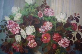 "Anne Carrick (Scottish 1919-2005) ""Old Roses"" Oil on Hardwood Panel, signed lower right, 59cm x"