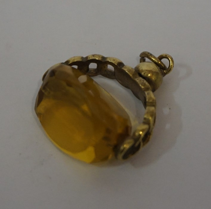 Lot 21 - 9ct Rose Gold and Citrine Fob, Overall weight 7.8 grams