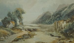 "P A Aitken (British) ""River and Mountain Landscape"" Watercolour, 32m x 50cm, in a gilt frame"