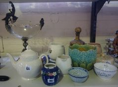 A Quantity of Porcelain and Pottery, to include a preserve jar by Mak Merry, a Chinese blue and
